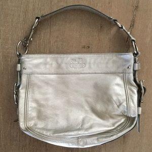 Coach Carly leather Metallic Silver Hobo Purse Bag